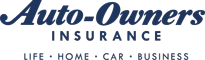 blue auto-owners logo with grey and white checker background