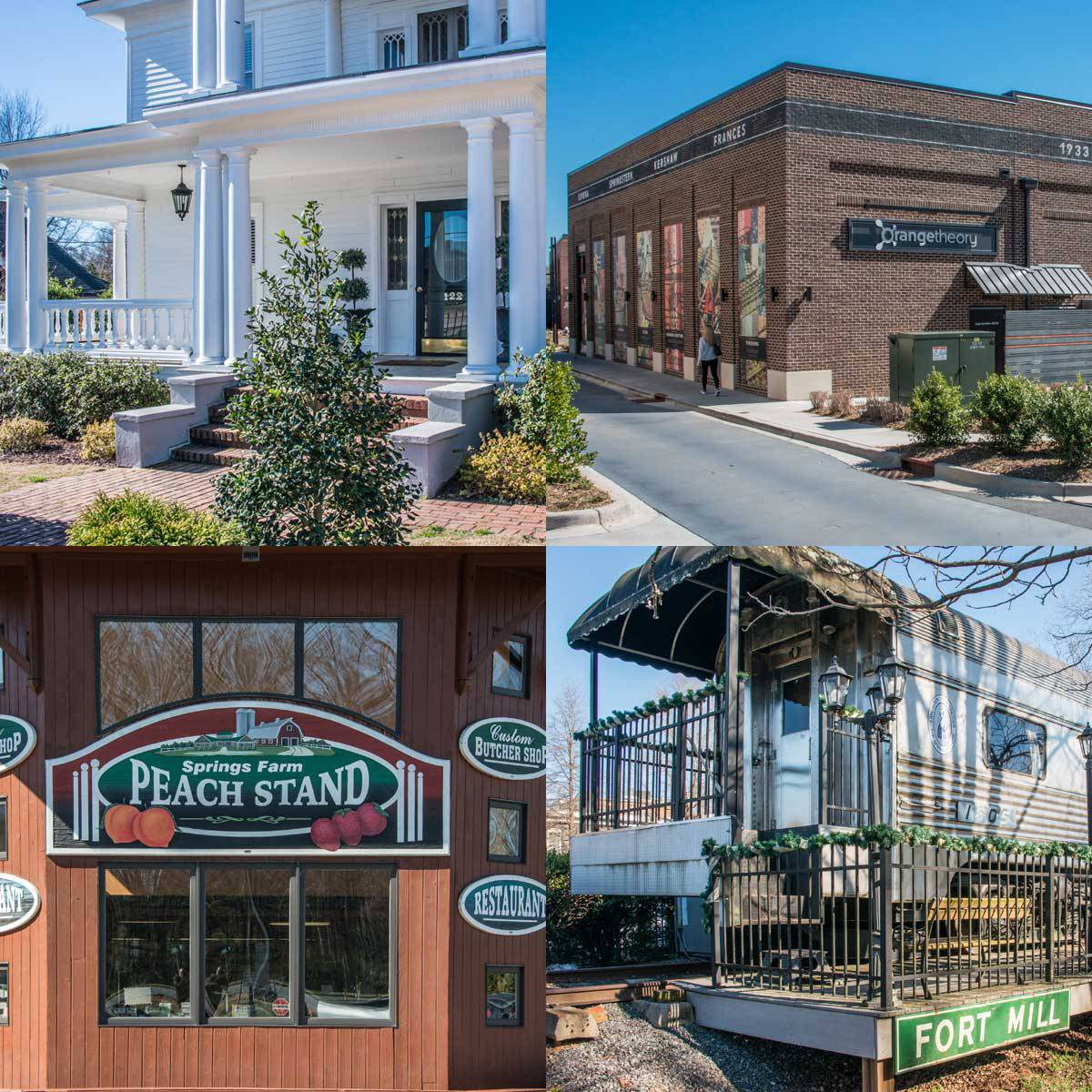 four blocks showing a white house, the local peach stand, the old fort mill train, and orange theory