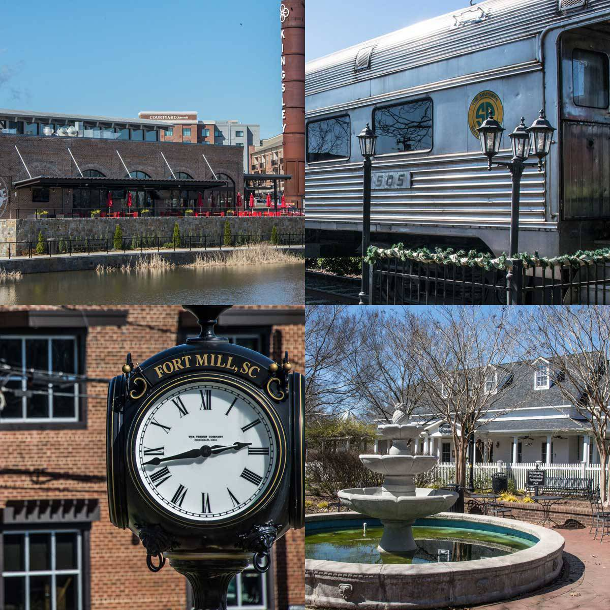 four blocks showing a black and white clock, a train, the fish market, and the old fort mill train