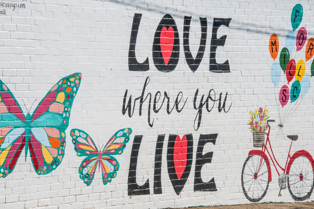 love where you live painting with butterflys and red bicycle