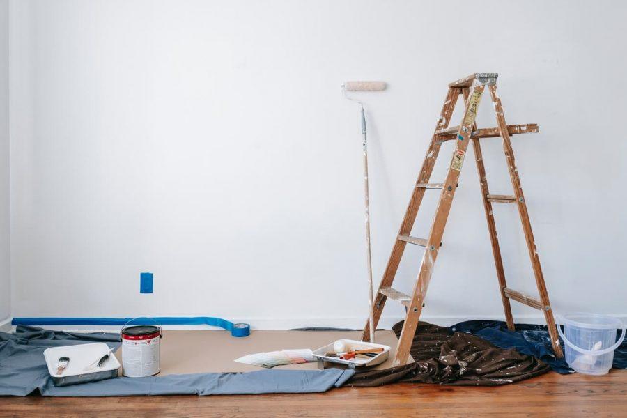 A house undergoes renovations.