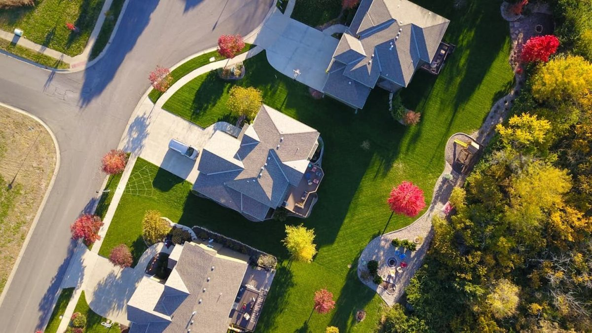 An aerial view of houses.