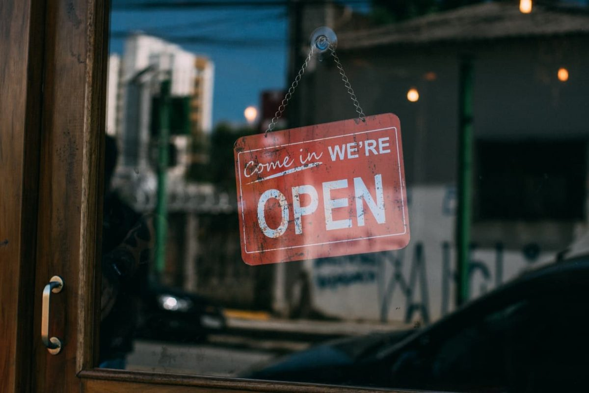 A small business is open.